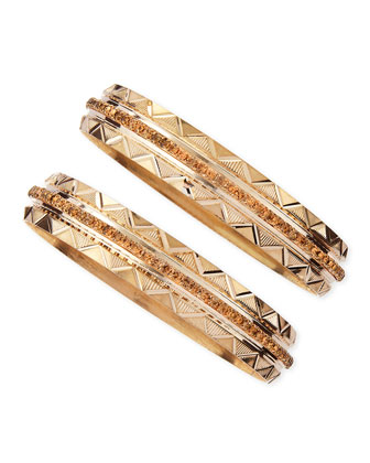 Set of Two Crystal Studded Zigzag Bangles