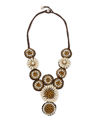 Floral-Beaded Rope Bib Necklace, Ivory/Bronze