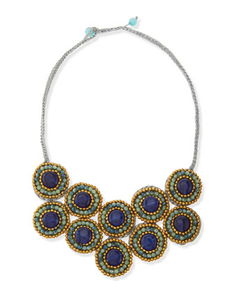 Tri-Tone Beaded Layered Bib Necklace