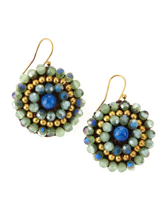 Triple-Tone Beaded Dangle Earrings, Blue