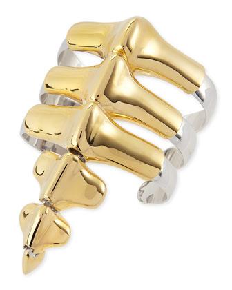 Vertebrae Two-Tone Cuff Bracelet