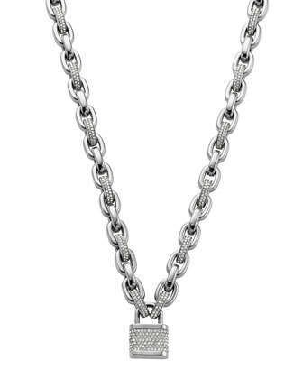 Pave Padlock Toggle Necklace, Silver Color