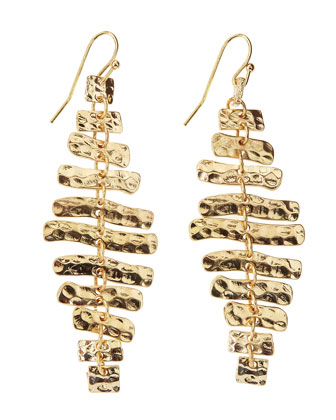 Hammered Golden Linear Dangle Earrings