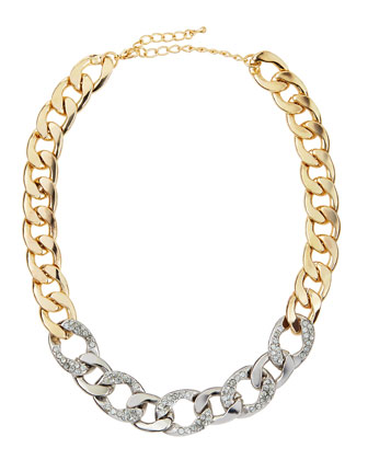 Two-Tone Crystal Studded Link Necklace