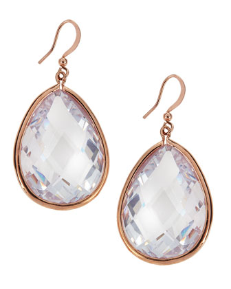 Rose-Golden CZ Teardrop Earrings
