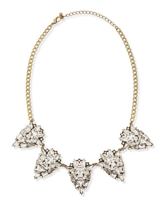Antique-Golden Crystal Statement Necklace