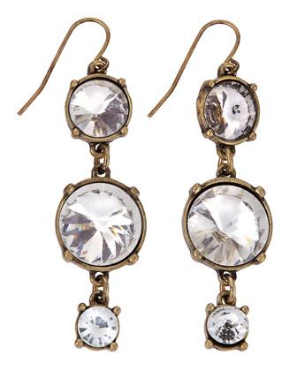 Antique Crystal Linear Drop Earrings