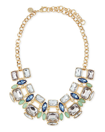 Large Mixed-Crystal Collar Necklace, Blue
