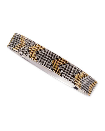 Two-Tone Thin Arrow Bangle, Golden/Silvertone