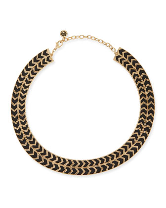 Blackbird Golden-Framed Arrow Collar Necklace, Black