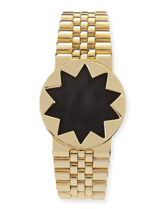 Golden Leather-Inset Sunburst Watch Bracelet, Black