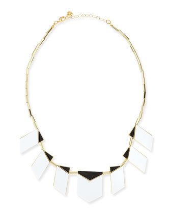 Two-Tone Modern Motif Station Necklace, White/Black