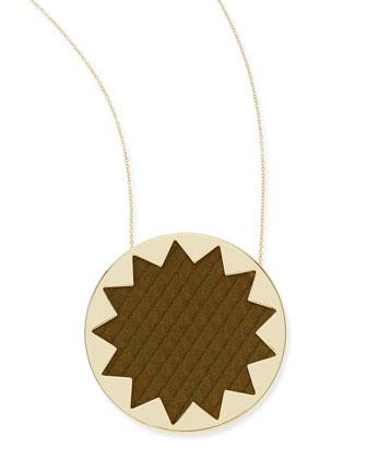 Sunburst Snake-Embossed Pendant Necklace, Olive
