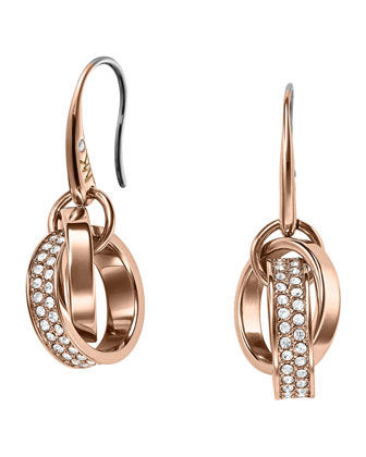 Pave Link Drop Earrings, Rose Golden