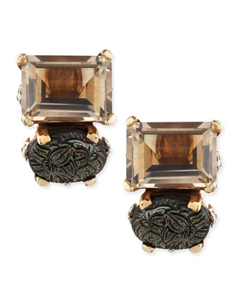 Carved Gray Mother-Of-Pearl and Smoky Quartz Double-Stone Clip Earrings