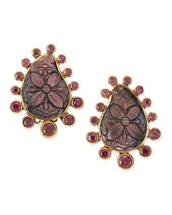 Carved Gray Mother-Of-Pearl and Rhodolite Garnet Teardrop Clip Earrings