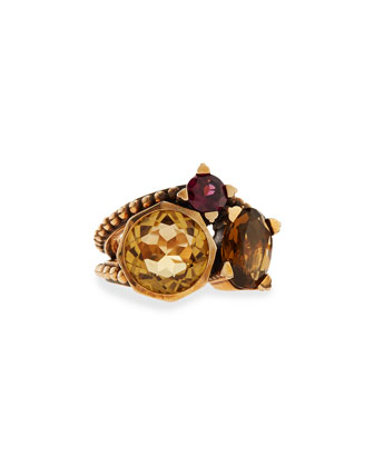 Bronze Ring with Rhodolite Garnet, Quartz & Citrine