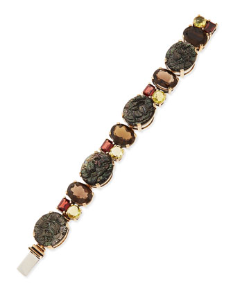Bronze Bracelet with Facets & Carved Mother-of-Pearl