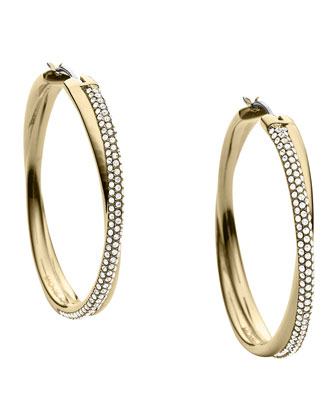 Crisscross Pave Hoop Earrings, Golden