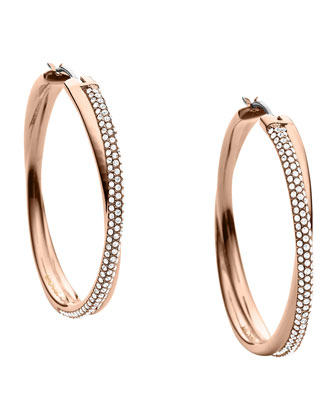 Crisscross Pave Hoop Earrings, Rose Golden