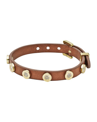 Pave-Stud Leather Wrap Bracelet, Golden