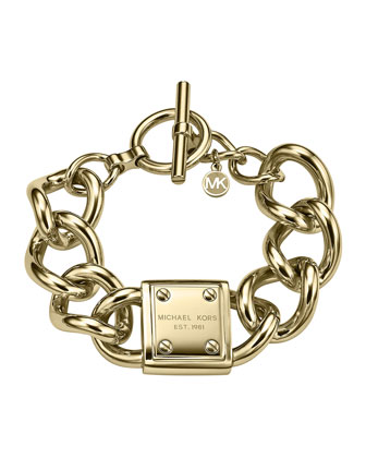 Logo-Plaque Link Bracelet, Golden