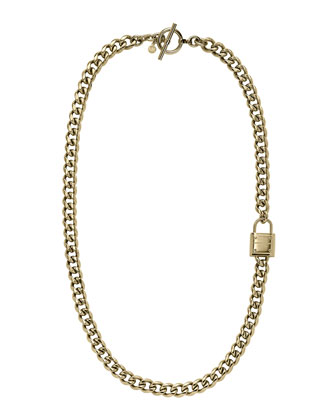 Long Padlock Chain Necklace, Golden
