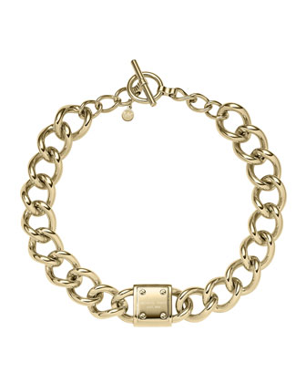 Logo-Plaque Curb-Chain Necklace, Golden