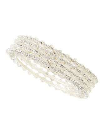 Set of Four Center-Beaded Crystal Bangles