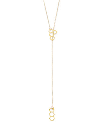 18K Gold Plated Honeycomb Lariat Necklace