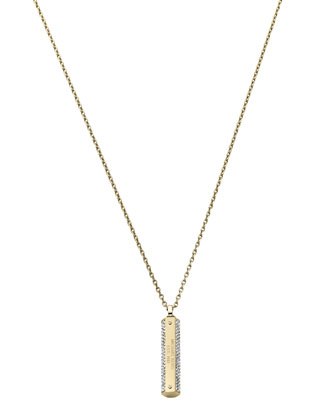 Pave Logo-Plaque Necklace, Golden