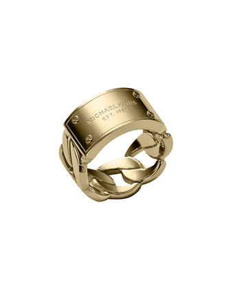 Curb-Chain Logo Ring, Golden