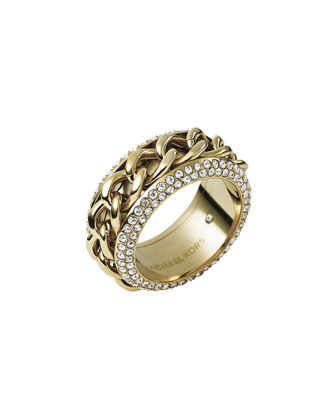 Chain/Pave Ring, Golden