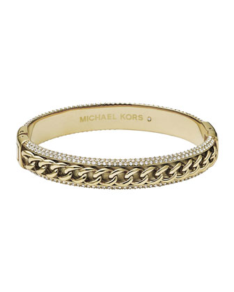 Curb-Chain/Pave Bangle, Golden