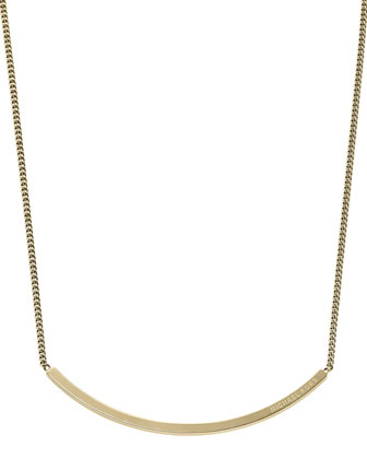 Logo-Plaque Choker Necklace, Golden