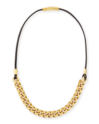 Curb-Chain/Leather Necklace, Golden