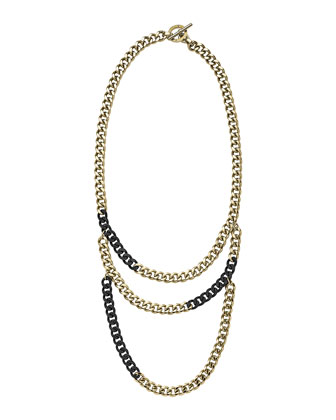 Tiered Curb-Chain Necklace, Black