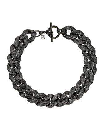Curb-Chain Pave Toggle Necklace, Black