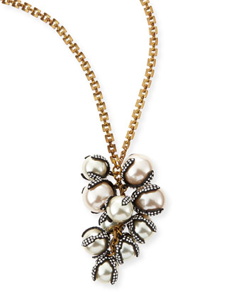 Decade Simulated Pearl Long Necklace