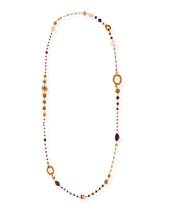 Garnet Quartz Long Necklace
