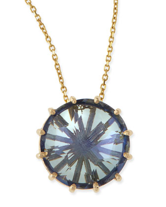 12mm Round Blue Topaz Pendant Necklace