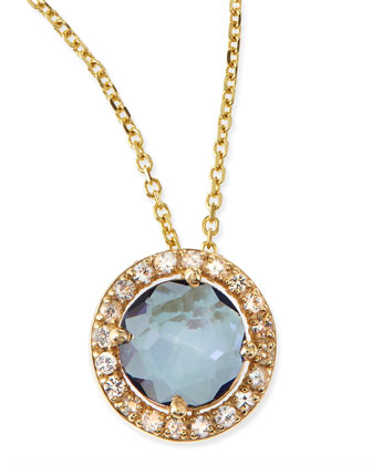 6mm Blue Topaz & White Sapphire Pendant Necklace