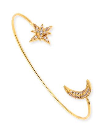 Cubic Zirconia Star & Moon Bracelet