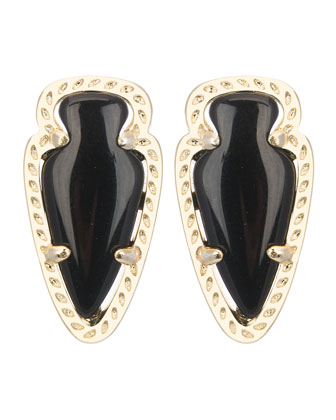 Skylette Black Glass Stud Earrings