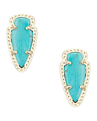 Skylette Turquoise Glass Stud Earrings