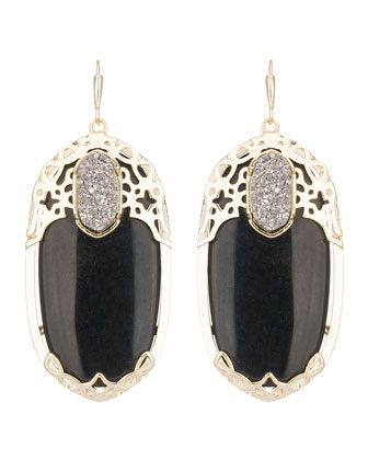 Deva Twilight Black Glass Earrings