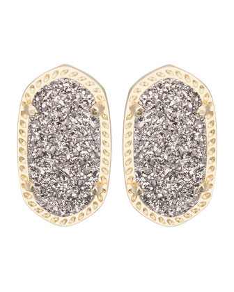Ellie Platinum Druzy Stud Earrings