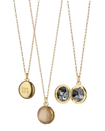 Pave Diamond M Initial Locket Necklace