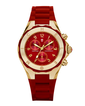 Gold Tahitian Large Jelly Bean Watch, Red