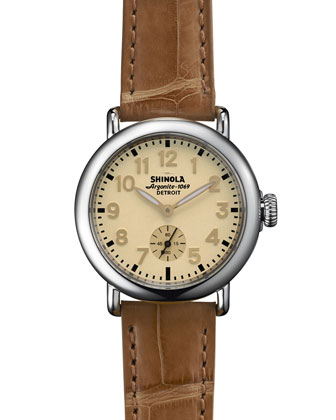 The Runwell Stainless Watch with Tan Alligator Leather Strap, 36mm